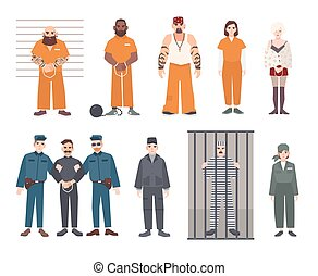 Colorful collection of male and female prisoners. Arrested...