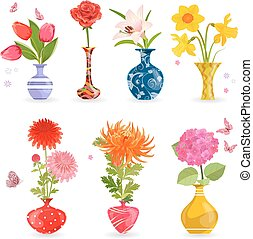 colorful collection of modern vases with lovely flowers for your
