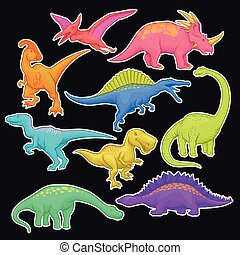 Colorful collection of prehistoric reptiles. Giant animal of...