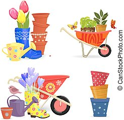colorful collection of spring bouquets and gardening equipments