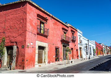 Colorful Colonial Street - Colorful colonial street in...