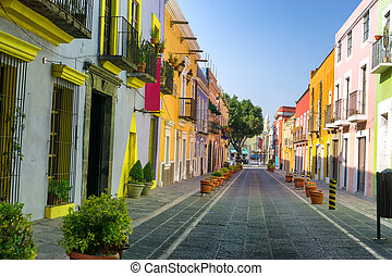 Colorful Colonial Street in Downtown Puebla - Colorful...