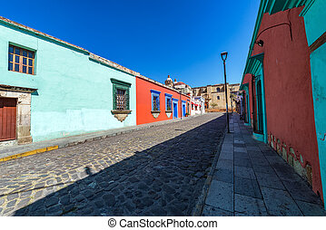 Colorful Colonial Street in Oaxaca, Mexico