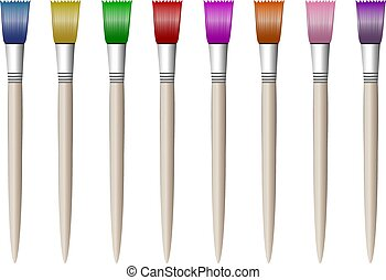Colorful colored brushes for drawing, simple, isolated in white frame.