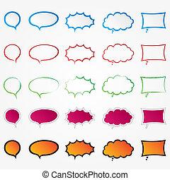 Colorful comic speech bubbles set (collection)