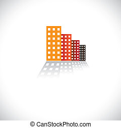 Colorful commercial buildings,offices, apartments- vector graphic. The illustration is also an icon for buying & selling residential property & commercial property, office & other establishments, etc