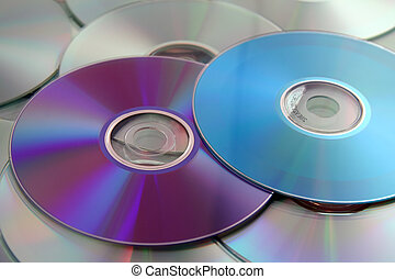 Colorful Compact Discs from Blue to Purple