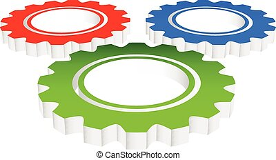 Eps 10 Vector Illustration of Colorful Composition of 3d Gears, cogwheels, gearwheels or cogs in perspective
