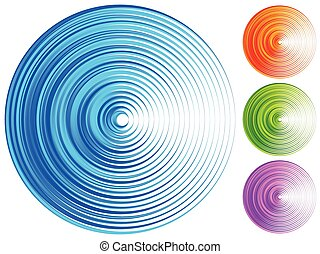 Colorful concentric circle elements. 4 bright, vivid, vibrant colors