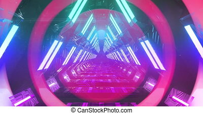 Colorful concentric circles moving over futuristic neon lit passageway. vintage colour and movement concept digitally generated image.