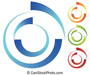 Colorful concentric, segmented circles. Abstract spiral, vortex graphic. Blue, orange, green, red versions.