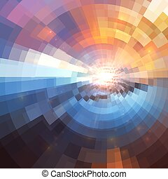 Colorful concentric shining mosaic abstract background