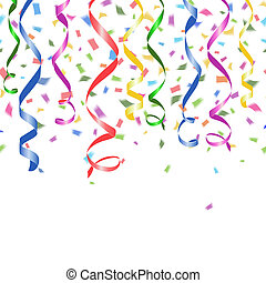 Colorful confetti and twirled party streamers - Colorful...