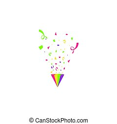 Colorful confetti burst isolated on white background. Festive template. Vector illustration of falling particles for holydays design