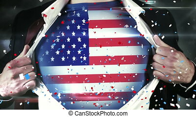Colorful confetti falling against man with U.S. flag on his ...