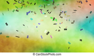 Colorful confetti falling against stage lights