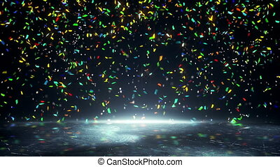 colorful confetti falling loopable