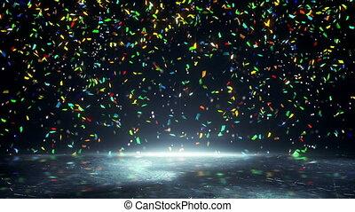 colorful confetti falling loopable