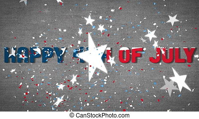 Colorful confetti falling over Independence Day text against stars falling