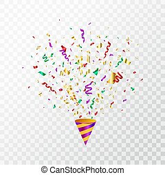 Colorful confetti flying on transparent background. Party cracker with color confetti, serpentine. Bright festive tinsel. Party popper. Holiday design elements. Vector illustration