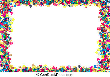 colorful confetti in rectangular frame - colourful confetti...