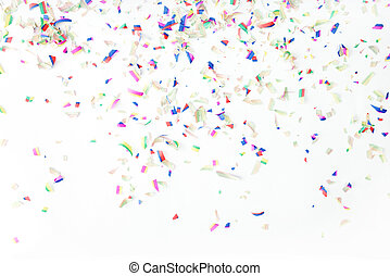 Colorful confetti on white background. Holiday or party background