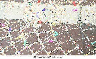 confetti to the street of Venice after the Carnival parade