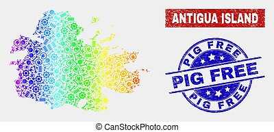 Colorful Construction Antigua Island Map and Grunge Pig Free Seals