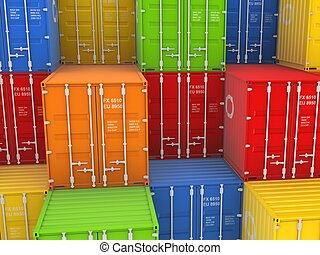 Colorful containers. - Colorful containers, isolated on...