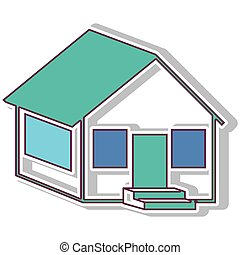 colorful contour side house with shadow vector illustration