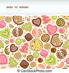 Colorful cookies horizontal torn seamless pattern background