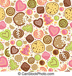 Colorful cookies seamless pattern background - Vector...