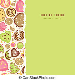 Colorful cookies square torn seamless pattern background