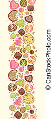 Colorful cookies vertical seamless pattern background border