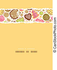 Colorful cookies vertical torn seamless pattern background...