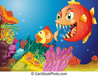 Colorful coral reefs with two fishes - Illustration of the...