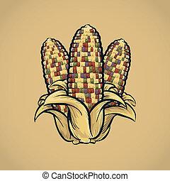 Festive, colorful autumn cartoon corn cobs.