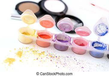 Colorful cosmetic powders - Picture of different-colored...