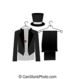 colorful costume formal suit with hat groom