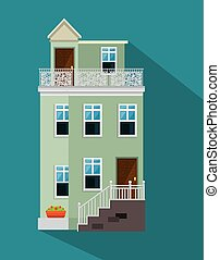 colorful cottage flat residential houses