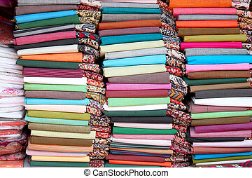 Colorful cotton fabrics of India