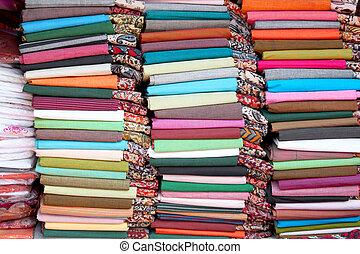Colorful cotton fabrics of India