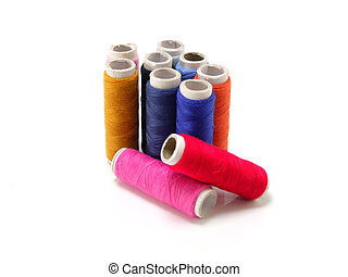 colorful cotton thread isolated on white background