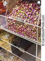 Colorful counter with tea at Spice market. Close up. Focus ...