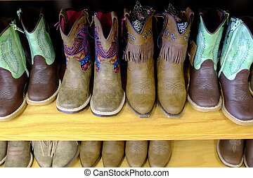 5829a0de109 A row of colorful cowboy boots on a shelf.