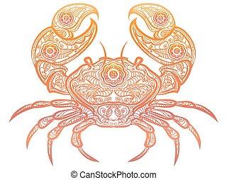 Colorful crab decorative doodle design - Colorful crab...