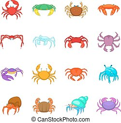 Colorful crab icons set, cartoon style