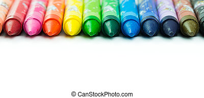 Colorful crayon - Spectrum of color crayon isolated on white...