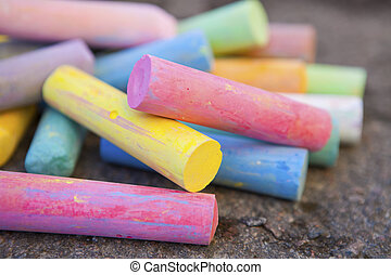 Colorful crayons - Close-up of colorful crayons outdoors for...