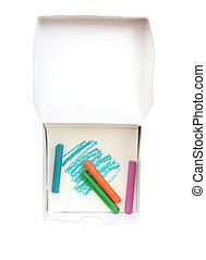 colorful crayons in box isolated (clipping path)